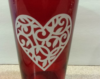 Tall Red Vase with White Filigree Heart - Valentine's Day