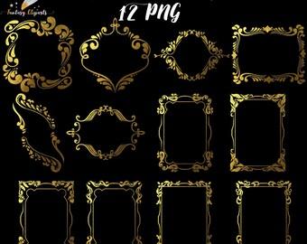 Gold foil frames, frame clipart, gold frame clip art, gold foil clipart, vintage frames, victorian frames, wedding decor, birthday invitati