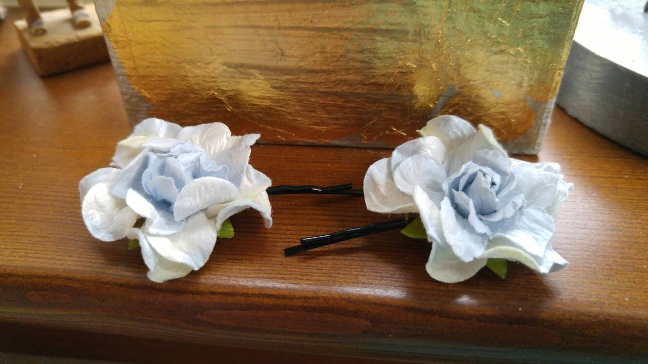 Blue hydrangea flower hair pins floral bobby pins gift for zoom izmirmasajfo