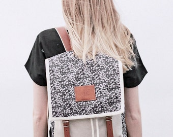 Daisy Grey Print Backpack, Canvas and Leather Backpack, White Daisies, Printed Fabric, Women's Backpack