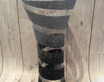 Tall Swirl Glitter vase