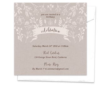 Rustic Invitation, Birthday Invitation, Picnic Invitation, Leaves Twigs Flowers Nature Natural, Floral Invitation