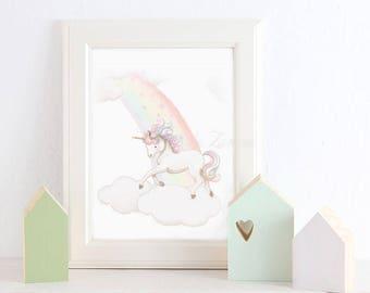 """Nursery Art """"RAINBOW BABY"""" Art Print, Nursery Illustration. Rainbow print. Rainbow child picture. Rainbow nursery."""