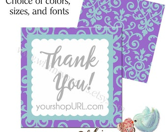 "Display Cards, Mini Cards, Damask Business Cards, Square Cards, 2X2"", 2.5 X 2.5"", 3X3"", Double Sided with Free Shipping*"
