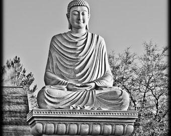 Black and White of Nirvana Buddha Shakyamuni Peaceful Serene Zen Statue Destination Travel Buddhist - Fine Art Photograph Print Pictures