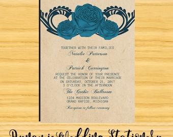 Gothic Swirl Roses Digital DIY Printable Wedding Invite