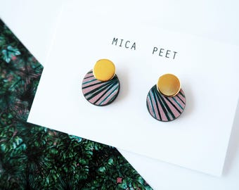 Palm Leaf Earrings - Tropical Earrings - Geometric Studs - Botanical Studs - Leaf Studs - Simple Earrings - Pink Earrings