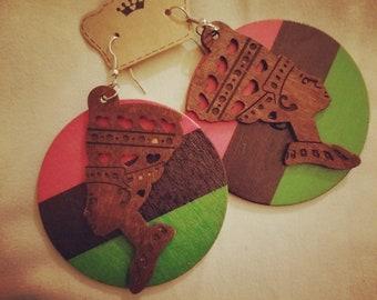 African theme Nefertiti earrings