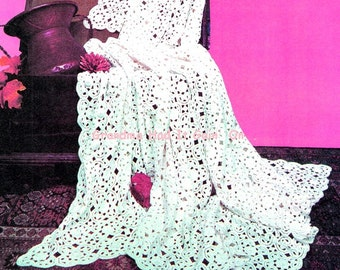 Irish Lace Bedspread - Crochet Pattern - Blanket Pattern - Lace Motifs - PDF Instant Download -  Afghan Pattern - Digital Vintage Home DECOR