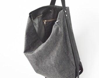 Black backpack for woman and man / denim backpack /backpacks