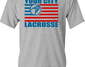 4th of July Lacrosse Flag T-shirt White, Gray, and Black