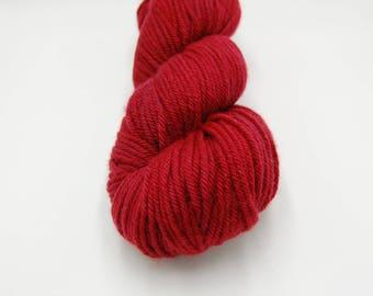 Merino Worsted Hand Dyed Yarn - Cranberry