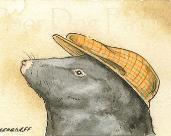 ACEO signed PRINT- Shrew with hat