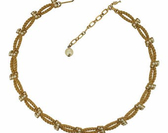 Trifari 1960s Gold Tone and Faux Pearl Rope American Vintage Necklace