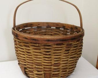Antique Primitive Gathering Basket - Large Round Basket
