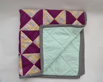 Plum Mint Triangle Baby Quilt - modern quilts - patchwork quilts - handmade quilt - baby girl nursery bedding - baby girl blankets - quilts