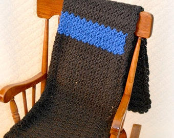 Crochet Baby Thin Blue Line Law Enforcement Leo Blanket Shell Stitch Stroller/Carseat/Travel Blanket - Black and Royal Blue - MADE TO ORDER