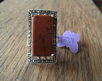 Sterling Silver Elongated Red Brown Obsidian Marcasite Ring 7.5 (1029)