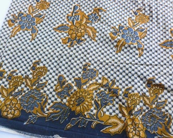 "Super Prestige Prints Fabric ""Arewa"" Mustard Gold and Navy Blue Floral Border Print One Yard"