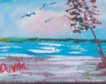 Seaside original acrylic impressionistic painting hand painted by Texas artist signed 2x3 inches