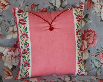 Pink Vintage Linen Envelope Pillow with Red Rick-Rack Trim
