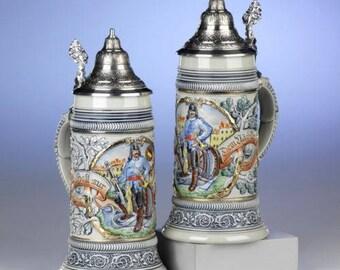 Ornithology beer jug - relief fire brigade - tin cap - limited-Germany beer mug