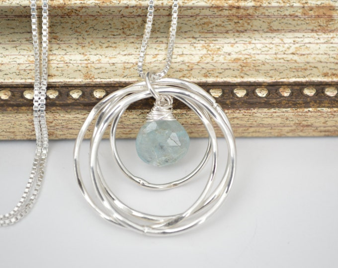 40th Birthday Gift for Her, Aquamarine birthstone necklace, Best friend Necklace, Birthday Gift for women, 4rd Anniversary Gift for wife