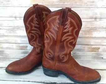 Cowboy boots, Double H Men's size 9D, Leather Country wear, Vintage Rust Color Boots