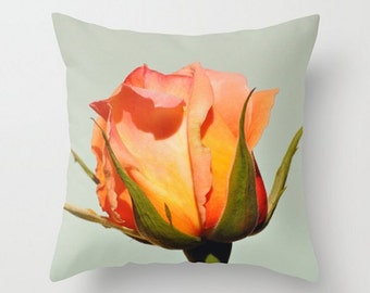 Throw Pillow Cover, Floral Photo Pillow Cover, Vividly Bright Rosebud Accent Pillow, Yellow Orange Peach Pink Red Green Beautiful Home Decor