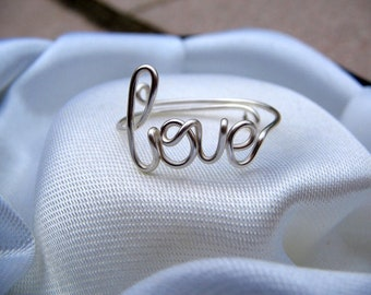 Silver Wire Love Ring Adjustable Dainty Ring
