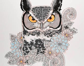 Inktober Original: Great Horned Owl