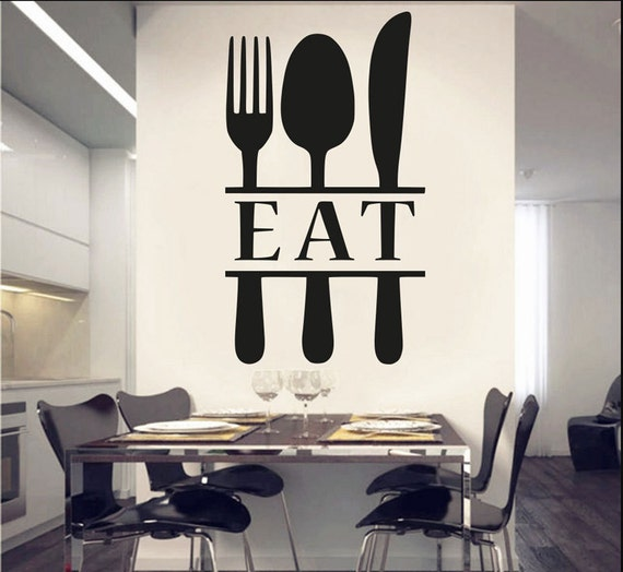 Kitchen Decor Wall Kitchen Decals Spoon Fork Wall Decor Fork And Spoon Decor  Kitchen Vinyl Decal Eat Sign For Kitchen Spoon And Fork Decor