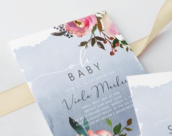 Baby Shower Invites Fresh Floral Printed or Print Yourself Digital Invitations