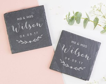 Anniversary Wedding Gift Personalised Slate Coaster