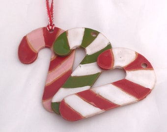 Sale: Candy Cane Ornament - Christmas Ornament - Ceramic Ornament - Tree Ornament