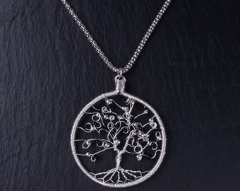 Sterling silver wire tree pendant (Black)
