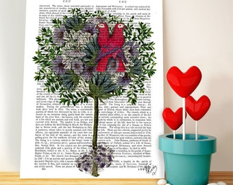 Love Birds in Tree: valentines gift for her Romantic gift love art print gifts for wife gift for mom gift for girlfriend wall art gift ideas