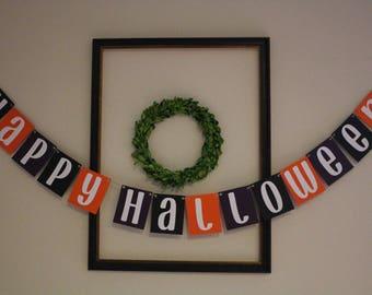 Happy Halloween Hanging Banner / Black, Purple, Orange, White / Halloween Decor / Fall Decorations / Mantle Decor