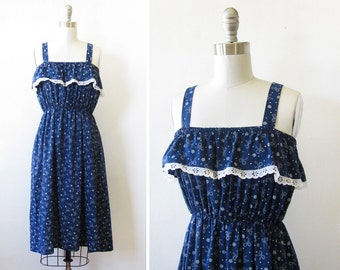 vintage blue sundress, vintage 80s navy blue ruffled dress, sleeveless summer boho dress, small medium large