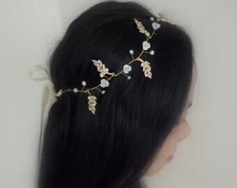 Juliette - Vintage Style Mother Pearl  Bridal Tiara, Hair Vine