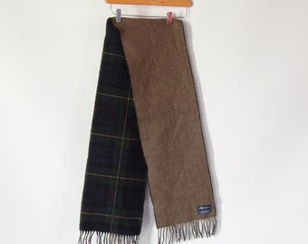 """Lambswool Scarf Polo Ralph Lauren Plaid soft Lambswool long men's winter Scarf Fringe Ends 69"""" x 10"""""""