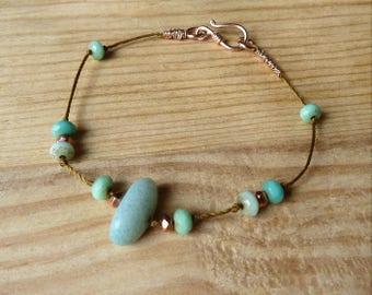 Bracelet with amazonite stone and vermeil