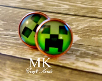 Minecraft Creeper Post Earrings
