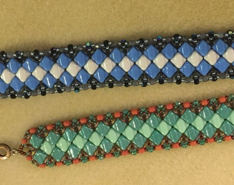 PATTERN Side Winder Tutorial cuff Silky beads cuff