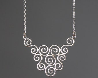 Silver Filigree Necklace - Silver Lace Necklace - Festoon Necklace - Silver Swirl Necklace - Pendant Necklace - Statement Jewelry - Gift
