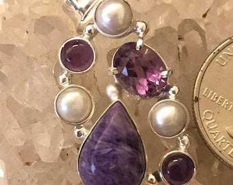 Charoite, Pearl and Amethyst Pendant Necklace