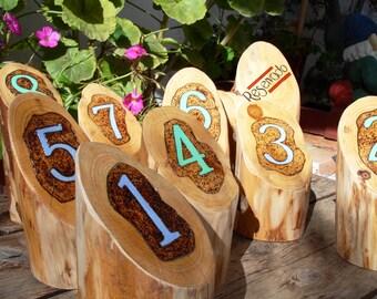 1 Rustic wedding table numbers // Números rústicos para mesas, wood table numbers, Meseros