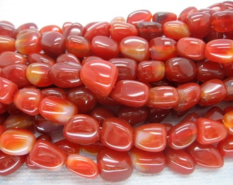 Beautiful Red Agate Freefrom Smooth Nugget Beads - 15 Inch Strand