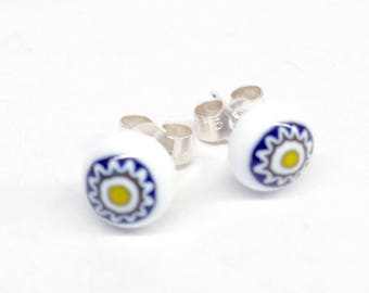 Murano Glass Millefiori Stud Earrings - Blue and Yellow Starburst on Sterling Silver Stud Post