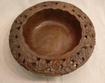 Vintage Carved Wooden Fruit Bowl